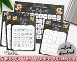 Chalkboard Flowers Bridal Shower Bingo 60 Cards in Black And Pink, luck game, black bridal shower, digital print, party supplies - RBZRX - Digital Product