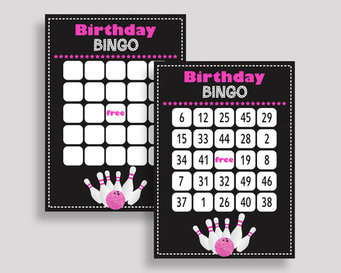 Bowling Bingo Game Cards, Bowling Birthday Game, Printable Pink Black Bingo Prefilled, Numbered Bingo 60 Cards, Bingo Girl, WYP5V