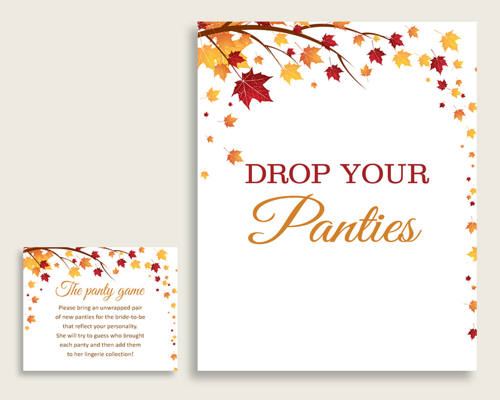 Drop Your Panties Bridal Shower Drop Your Panties Fall Bridal Shower Drop Your Panties Bridal Shower Autumn Drop Your Panties Brown YCZ2S