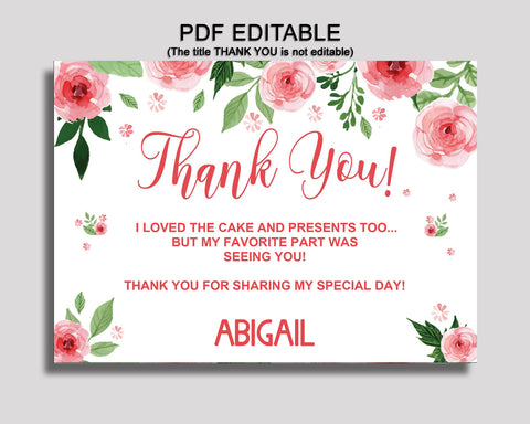 Birthday Watercolor Flowers Thank You Watercolor Flowers Self Editable Pink Green Thank You Notes Watercolor Flowers Party Thank You SLEPQ