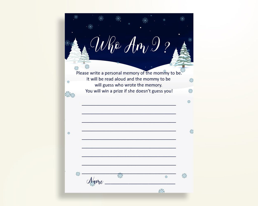 Who Am I Baby Shower Who Am I Winter Baby Shower Who Am I Baby Shower Winter Who Am I Blue White party organization party stuff party 3E6QO - Digital Product