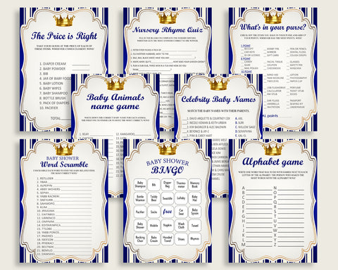 Royal Prince Baby Shower Games Printable Pack, Blue Gold Baby Shower Games Package Boy, Royal Prince Games Bundle Set, Instant rp001