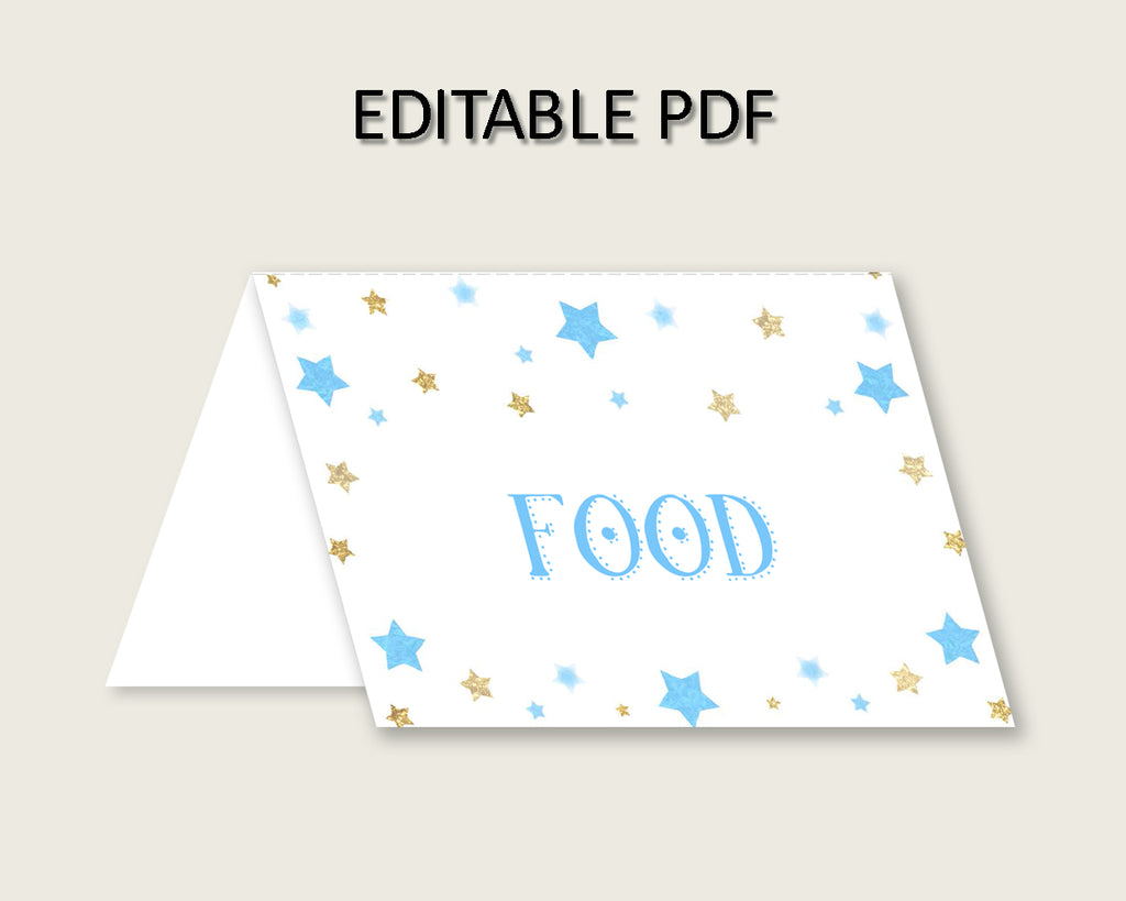 Stars Folded Food Tent Cards Printable, Blue Gold Editable Pdf Buffet Labels, Boy Baby Shower Food Place Cards, Instant Download, bsr01