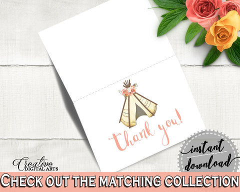 Thank You Card Bridal Shower Thank You Card Tribal Bridal Shower Thank You Card Bridal Shower Tribal Thank You Card Pink Brown - 9ENSG - Digital Product