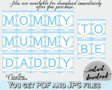 Baby shower CHAIR BANNER printable decoration with blue and white stripes, digital files, glitter gold, instant download - bs002