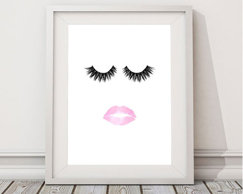 Lashes Framed Print Available Lips Canvas Print Available Lashes Fashion Art Lips Fashion Print Lashes Printed Lips eyelashes print - Digital Download