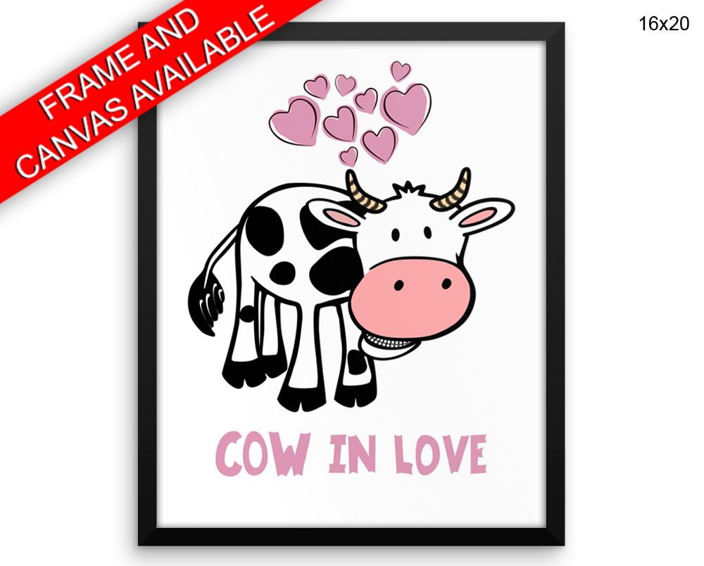 Cow Love Print, Beautiful Wall Art with Frame and Canvas options available Living Room Decor