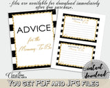 Advice For The Mommy To Be and Advice For The New Parents baby shower activities with black white stripes, glitter, instant download - bs001