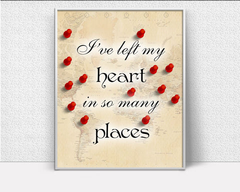 Wall Art Travelling Digital Print Traveller Poster Art Travelling Wall Art Print Traveller  Wall Decor Travelling map travel travel heart - Digital Download