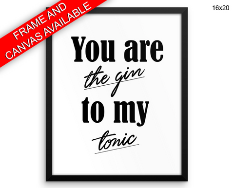 Gin Tonic Print, Beautiful Wall Art with Frame and Canvas options available  Decor