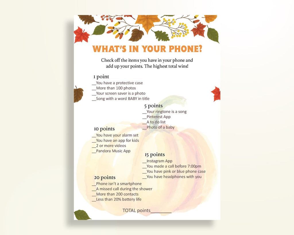 What's In Your Phone Baby Shower What's In Your Phone Autumn Baby Shower What's In Your Phone Baby Shower Pumpkin What's In Your Phone OALDE - Digital Product