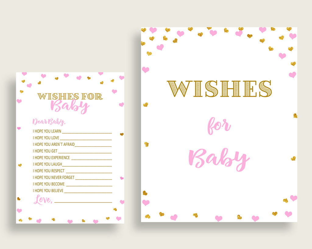 Wishes For Baby Baby Shower Wishes For Baby Hearts Baby Shower Wishes For Baby Baby Shower Hearts Wishes For Baby Pink Gold prints bsh01