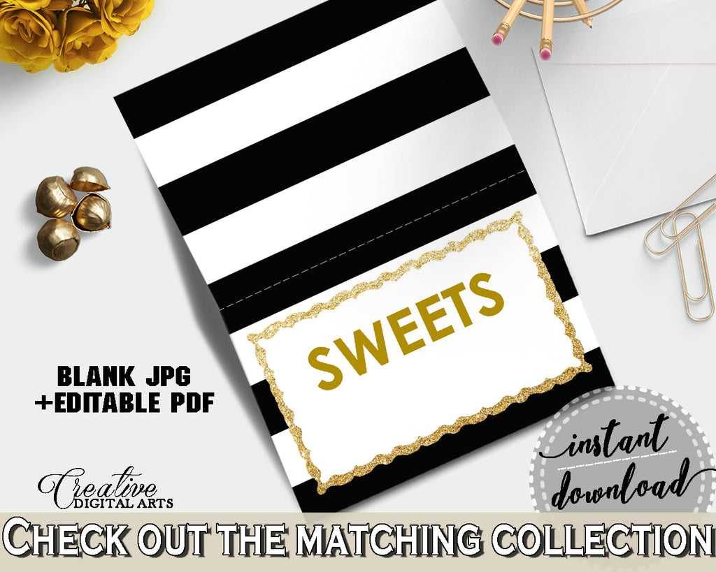Baby shower Place CARDS or FOOD TENTS editable printable with black and white color stripes theme for boys girls, instant download - bs001