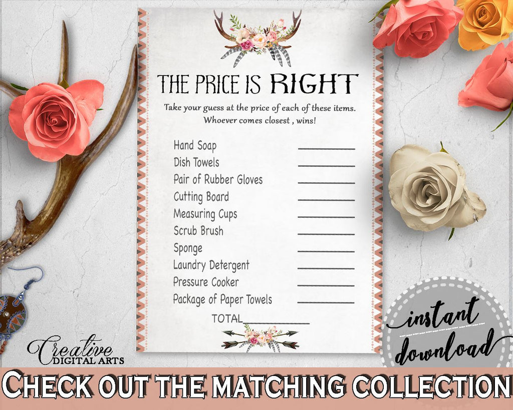 Antlers Flowers Bohemian Bridal Shower The Price Is Right Game in Gray and Pink, bridal shower price, party ideas, party décor - MVR4R - Digital Product
