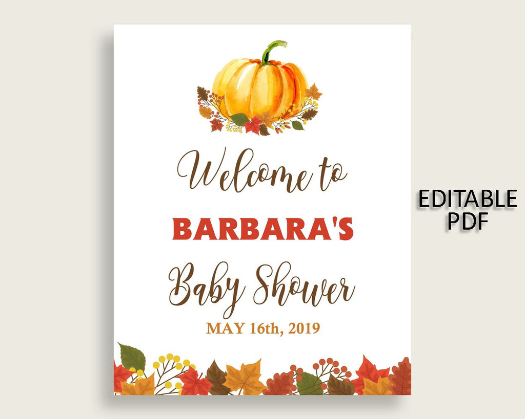 Welcome Sign Baby Shower Welcome Sign Fall Baby Shower Welcome Sign Baby Shower Pumpkin Welcome Sign Orange Brown party organizing pdf BPK3D - Digital Product