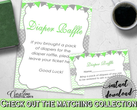 Baby shower DIAPER RAFFLE insert card printable for baby boy girl shower with chevron green theme, Jpg Pdf, instant download - cgr01