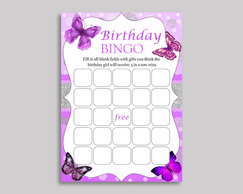 Birthday Game Butterfly Gift Bingo Butterfly Birthday Bingo Purple White Party Activity Girl OHI62