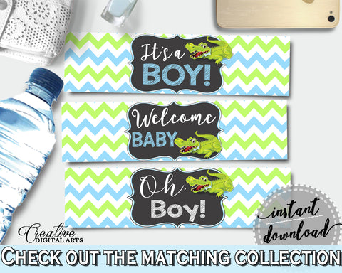 Baby shower WATER BOTTLE LABELS printable with green alligator and blue color theme, instant download - ap002