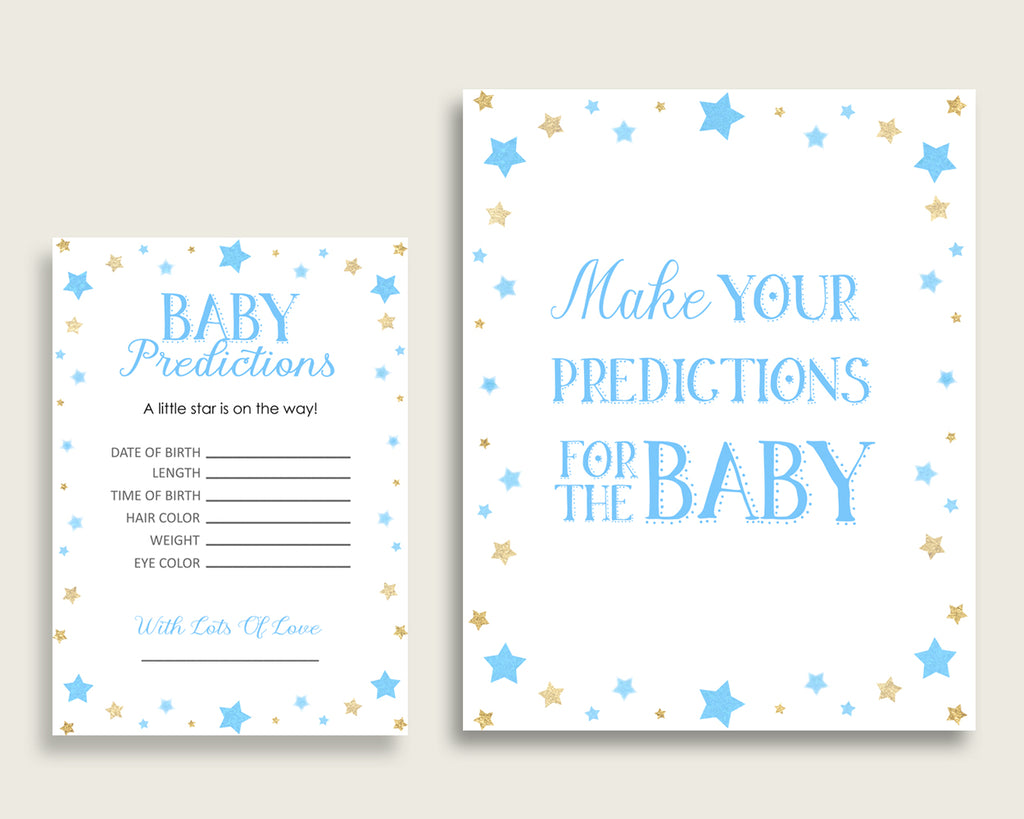 Stars Baby Shower Prediction Cards & Sign Printable, Blue Gold Baby Prediction Game Boy, Instant Download, Most Popular Little Star bsr01