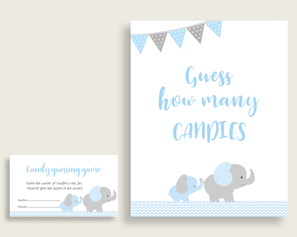 Blue Grey Candy Guessing Game, Elephant Baby Shower Boy Sign And Cards, Guess How Many Candies, Candy Jar Game, Jelly Beans, Instant ebl02
