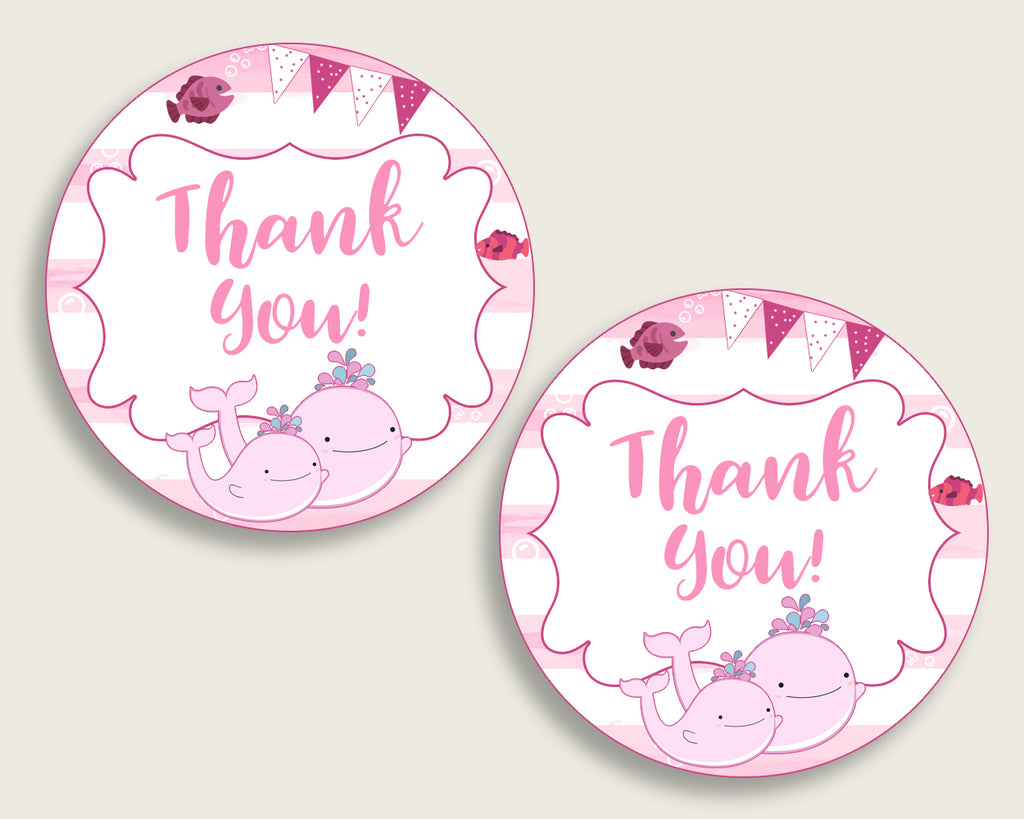 Pink Whale Baby Shower Round Thank You Tags 2 inch Printable, Pink White Favor Gift Tags, Girl Shower Hang Tags Labels, Digital File wbl02