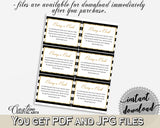 Baby shower BRING A BOOK insert cards printable for baby shower with black white stripes color theme glitter gold, instant download - bs001