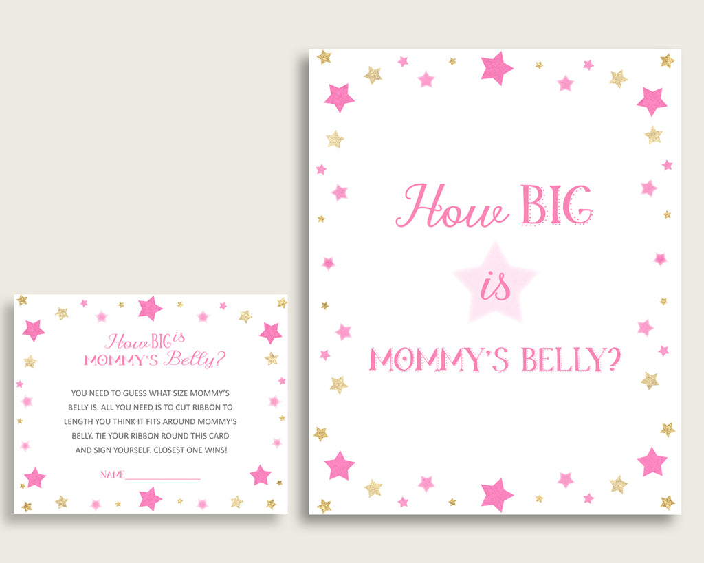 Pink Gold How Big Is Mommy's Belly Game, Twinkle Star Baby Shower Girl, Guess Mommys Belly Size, Mommy Tummy Game, Instant Download, bsg01