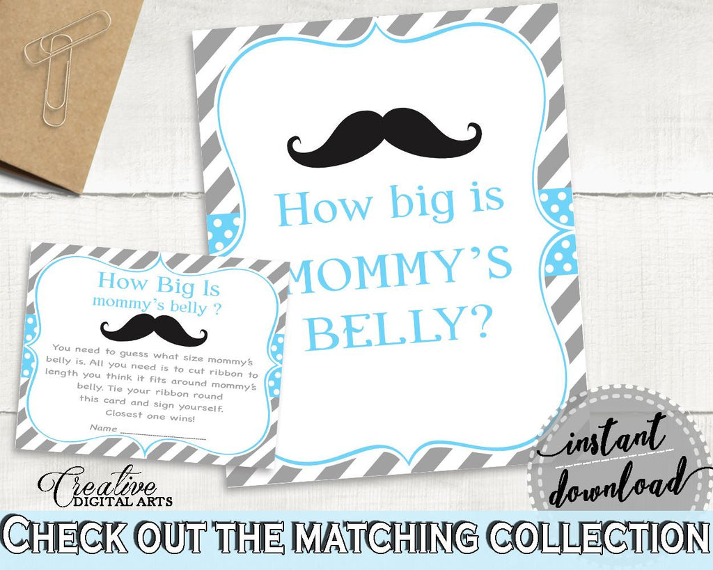 Blue Gray Mommy's Belly, Baby Shower Mommy's Belly, Mustache Baby Shower Mommy's Belly, Baby Shower Mustache Mommy's Belly prints 9P2QW - Digital Product