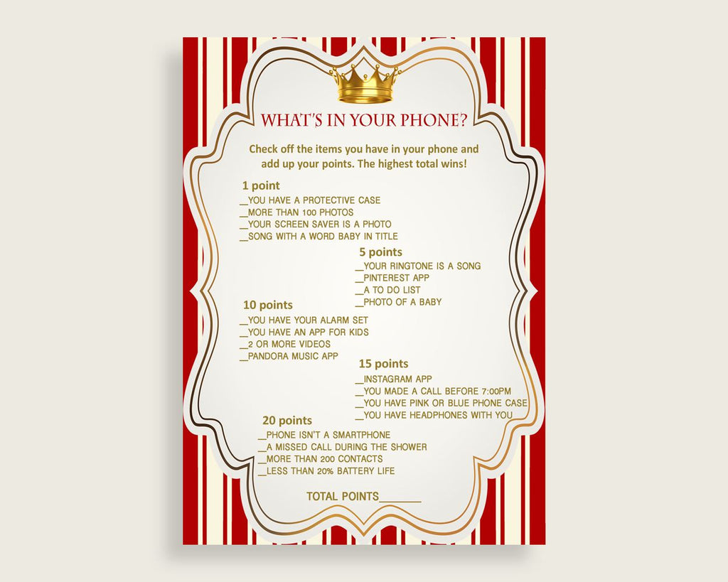 Red Gold What's In Your Phone Game, Prince Baby Shower Boy, What's In Your Cell Phone Printable, Instant Download, Cute Theme Crown 92EDX