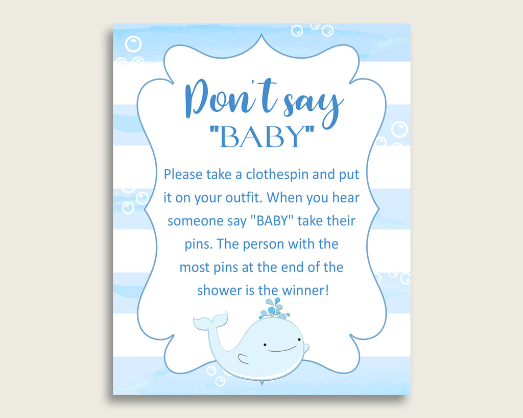 Blue White Don't Say Baby Printable Game, Boy Baby Shower Whale Game Sign, Instant Download, 8x10, Watercolor Stripes Light Blue wbl01