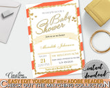 Orange Baby Shower INVITATION editable Pdf with glitter gold printable orange theme, digital Jpg included, instant download - bs003