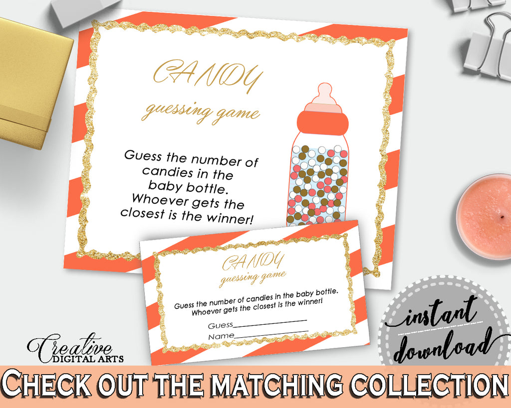 CANDY GUESSING GAME sign and tickets, glitter baby shower, orange stripe theme printable, gender neutral, Jpg Pdf, instant download - bs003