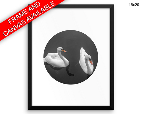 Swan Print, Beautiful Wall Art with Frame and Canvas options available Living Room Decor