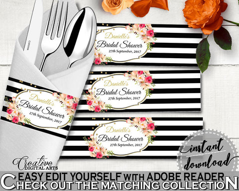 Black And Gold Flower Bouquet Black Stripes Bridal Shower Theme: Napkin Ring Editable - diy napkin rings, party ideas, party décor - QMK20 - Digital Product