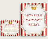 Red Gold How Big Is Mommy's Belly Game, Prince Baby Shower Boy, Guess Mommys Belly Size, Mommy Tummy Game, Instant Download, Crown 92EDX