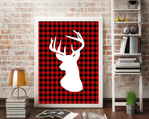 Wall Art Deer Digital Print Plaid Poster Art Deer Wall Art Print Plaid Home Art Plaid Home Print Deer Wall Decor Deer holiday printable - Digital Download