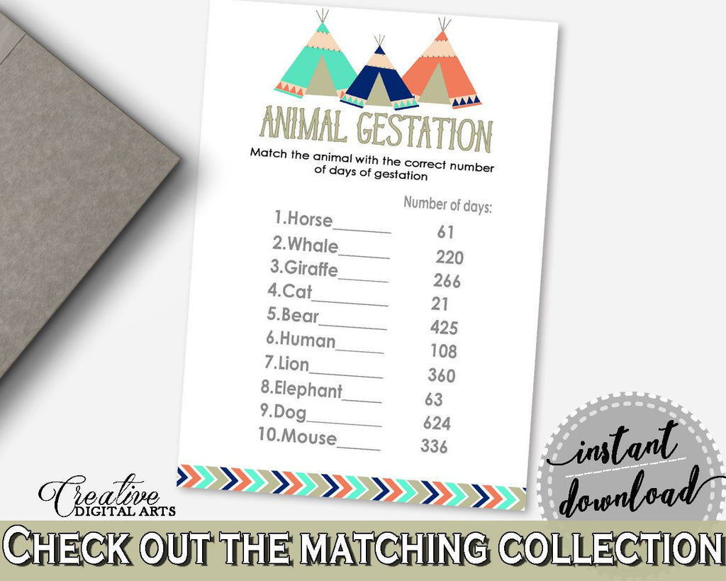 Animal Gestation Baby Shower Animal Gestation Tribal Teepee Baby Shower Animal Gestation Baby Shower Tribal Teepee Animal Gestation KS6AW - Digital Product