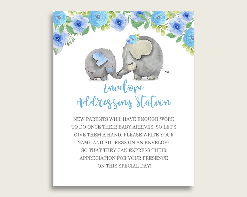 Blue Gray Baby Shower Address Sign Printable, Elephant Blue Envelope Station Sign, Envelope Addressing Baby Shower Boy, Elephant Trunk ebl01