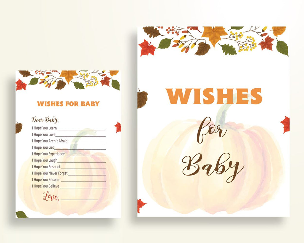 Wishes For Baby Baby Shower Wishes For Baby Autumn Baby Shower Wishes For Baby Baby Shower Pumpkin Wishes For Baby Orange Brown shower OALDE - Digital Product