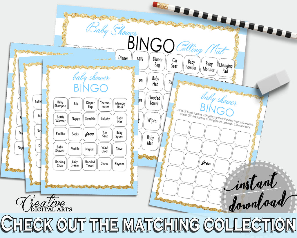 Baby Shower printable BINGO 60 cards game and empty gift BINGO cards with blue and white stripes theme, instant download - bs002