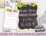 Baby PREDICTIONS sign and cards activity printable for baby shower with green alligator and pink color theme, instant download - ap001