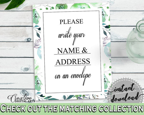 Addressing Sign Bridal Shower Addressing Sign Botanic Watercolor Bridal Shower Addressing Sign Bridal Shower Botanic Watercolor 1LIZN - Digital Product