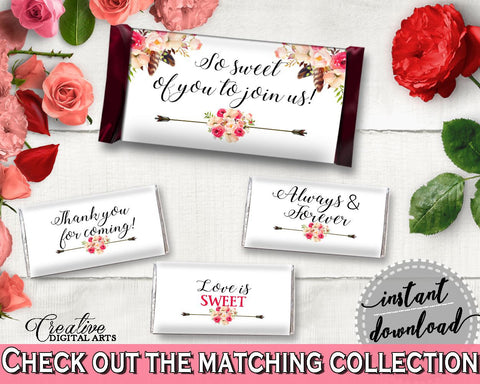 Hershey Mini And Standard Wrappers in Bohemian Flowers Bridal Shower Pink And Red Theme, eye-catching, boho chic, party decor - 06D7T - Digital Product
