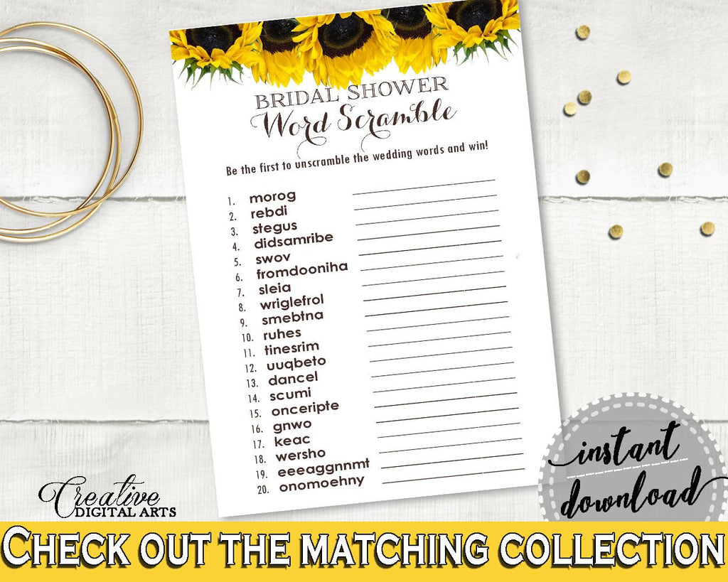 word scramble bridal shower word scramble sunflower bridal shower word scramble bridal shower sunflower word scramble