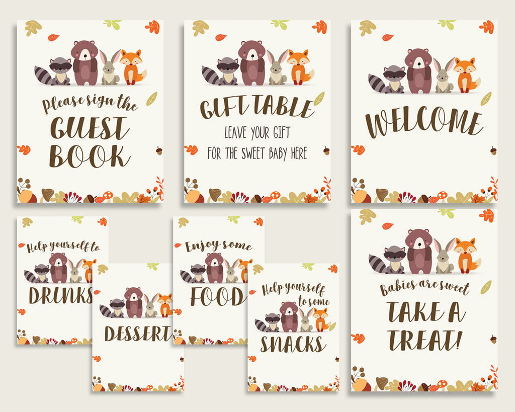 Woodland Baby Shower Gender Neutral Table Signs Printable, Brown Beige Party Table Decor, Favors, Food, Drink, Treat, Guest Book w0001