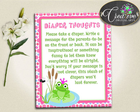 Baby Shower Frogs Baby Shower Froggy Cool Activity Nappies DIAPER THOUGHTS, Printable Files, Party Plan, Party Décor - bsf01 - Digital Product