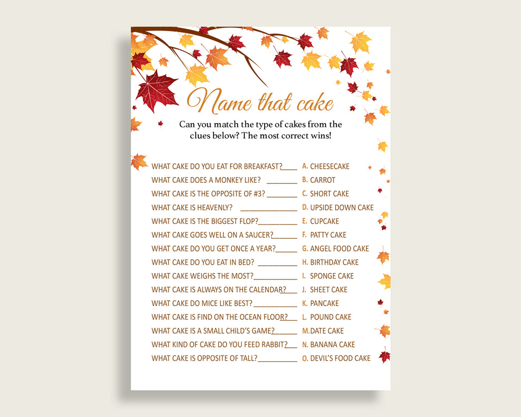 Name That Cake Bridal Shower Name That Cake Fall Bridal Shower Name That Cake Bridal Shower Autumn Name That Cake Brown Yellow party YCZ2S