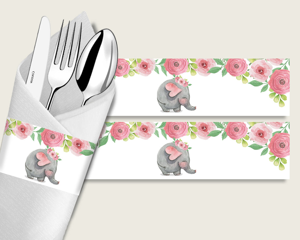 Pink Elephant Baby Shower Napkin Rings Printable, Pink Grey Napkin Wrappers, Girl Shower Utensils Wrap, Instant Download, ep001