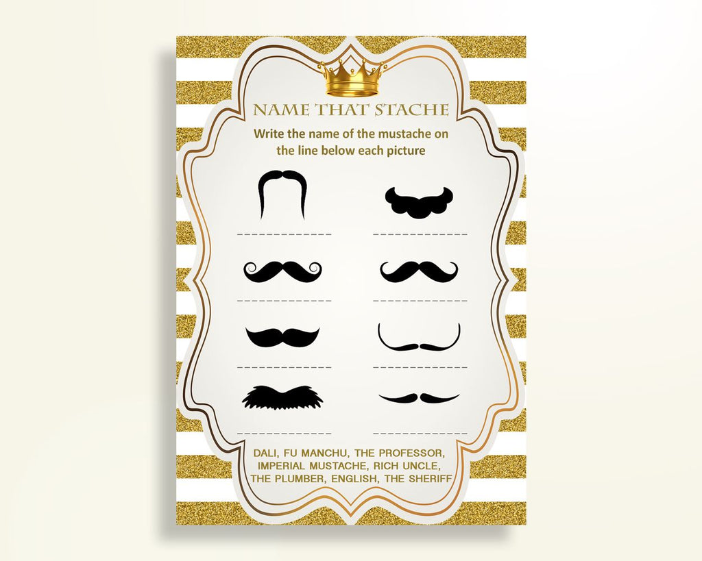 Name That Stache Baby Shower Name That Stache Royal Baby Shower Name That Stache Gold White Baby Shower Gold Name That Stache prints Y9MQF - Digital Product