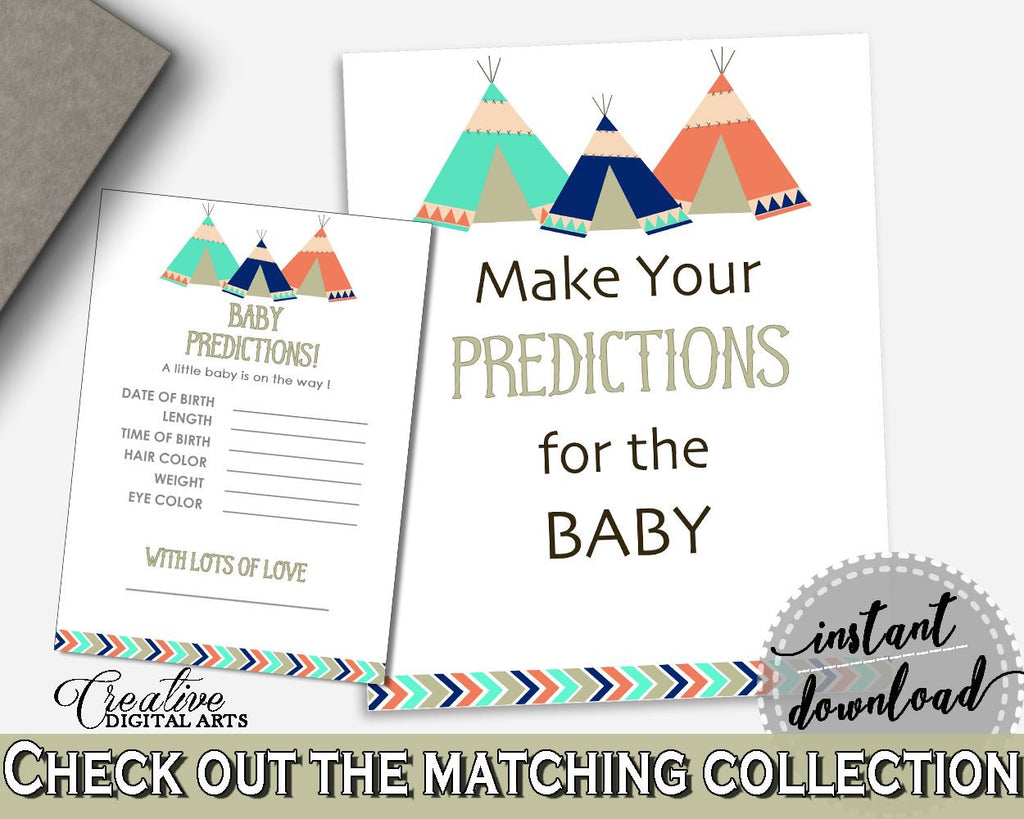 Baby Predictions Baby Shower Baby Predictions Tribal Teepee Baby Shower Baby Predictions Baby Shower Tribal Teepee Baby Predictions KS6AW - Digital Product